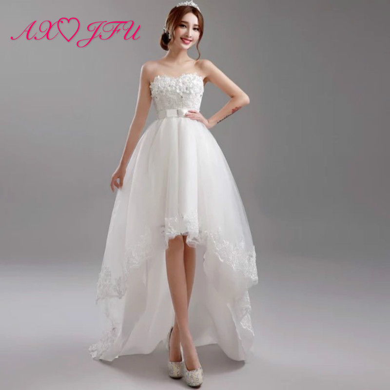 AXJFU Luxury Princess White Flower Wedding Dress Beading Pearls Bow High/low Wedding Dress Vintage White Lace Wedding Dress