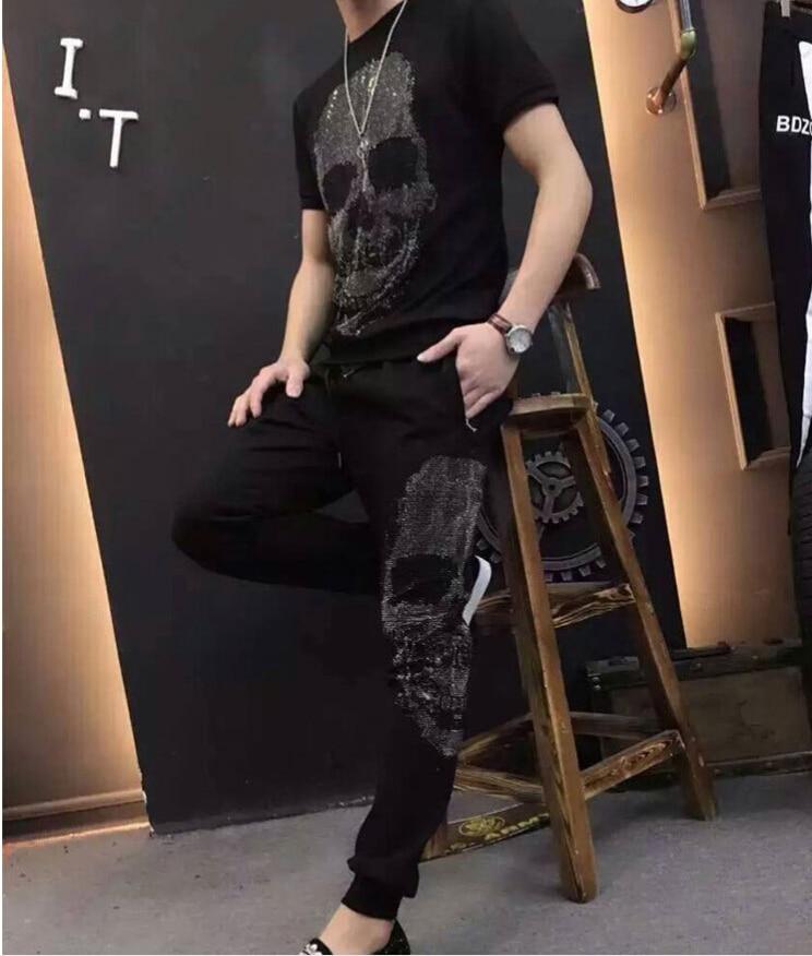 Été 2018 survêtement solide Sweat costume hommes survêtement top qualité 100% coton hommes ensemble