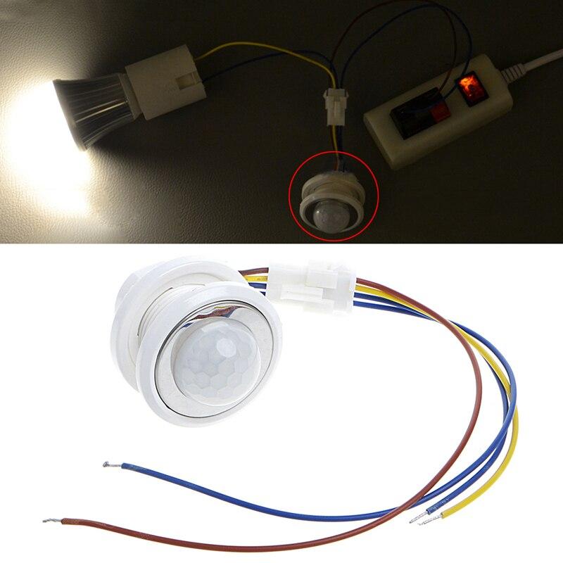 Nouveau 40mm LED PIR Détecteur Infrarouge, Détecteur de Mouvement avec Temporisation Réglable