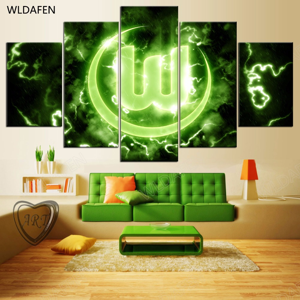 5 Pieces Sports Team Deco Fans Posters Oil Painting On Canvas Modern Home Pictures Prints Decor Living Room PH4-1449
