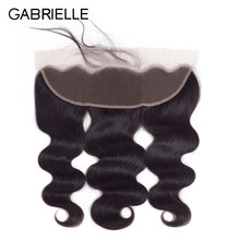 Gabrielle Peruvian Body Wave 13x4 Lace Frontal Closure Free/Middle/Three Part 100% Natural Black Color Non Remy Human Hair(China)