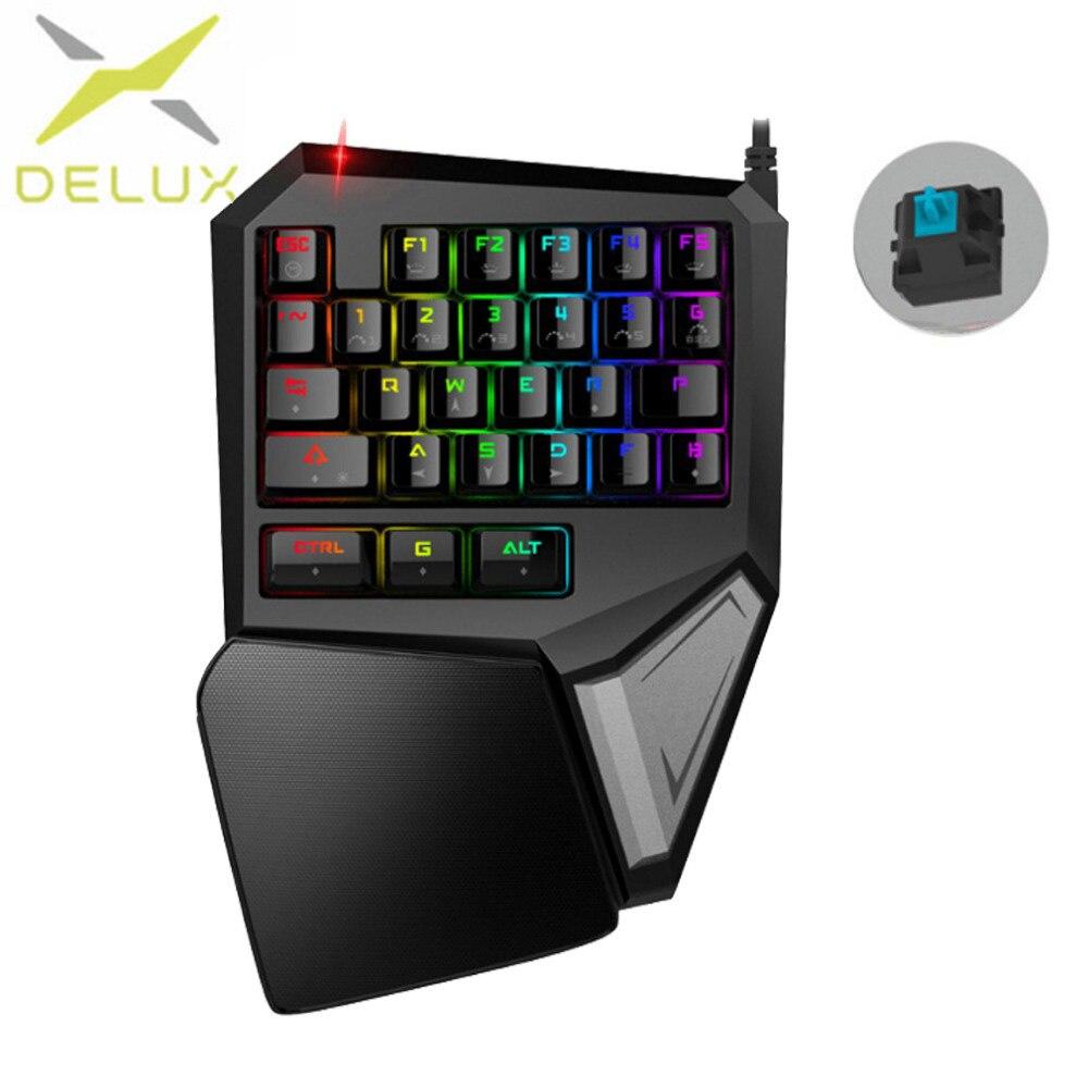 Delux T9 плюс механическая клавиатура Игровой мини-клавиатура Профессиональный эргономичная клавиатура RGB подсветкой 27 ключи для PC Gamer для ноу...
