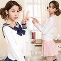 Alta qualidade terno de marinheiro cos uniforme escolar aos alunos para adolescentes estilo preppy uniforme JK moda Japonês Seifuku arco saia camisa