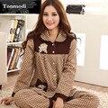 Pijamas das mulheres Primavera E No Outono Sleepwear Longo-Luva Das Senhoras Pijamas de Algodão Pijama de Bolinhas Mulheres Salão Pijamas Set