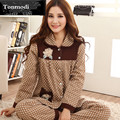 Pijamas de las mujeres de Primavera Y Otoño de Manga Larga Ropa de Dormir Pijamas de Las Señoras de Algodón Polka Dot Mujeres Pijama Pijama Conjunto de Salón