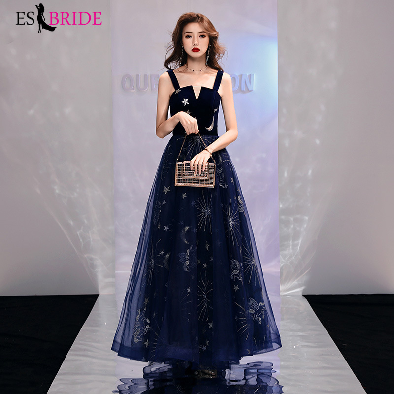 1a91b1aa56 Long Evening Gowns 2019 New arrival Elegant A-Line Royal Blue casual Lace  Dress Party Formal With Sleeve Robe De Soiree ES1260 - aliexpress.com -  imall.com