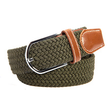 Men Stretch Waist Belt Canvas Braided Elastic Woven Leather Wide Hot Metal For Waistband