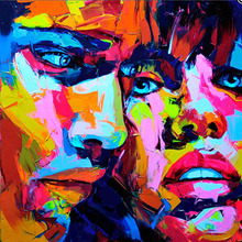 Nielly Francoise Hand Painted Modern Pop Art Abstract Knife Palette Picture Oil Paintings Art Wall Decoration Cool Face Poster