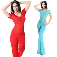 Belly Dance Costume Sets Sexy Milk Silk Top Waist Pants 2pcs Suit For Women Belly Dance