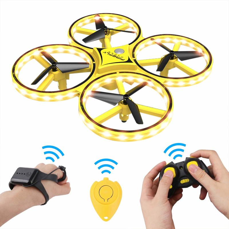 Zhenwei Mini Drone Watch RC Quad-copter Flyer Hold Infrared Sensor Control Mini RC Drones Gift for Kids Boys image