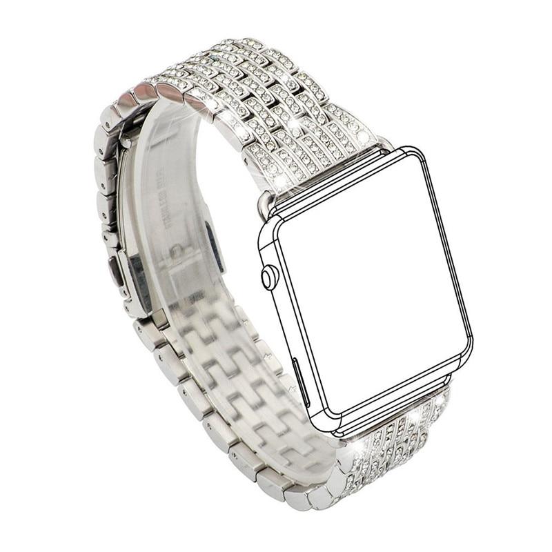 Femmes robe Bracelet de montre pour Apple Bracelet de montre 38mm 42mm cristal Bracelet de montre de luxe en acier inoxydable Bracelet sangle pour iWatch