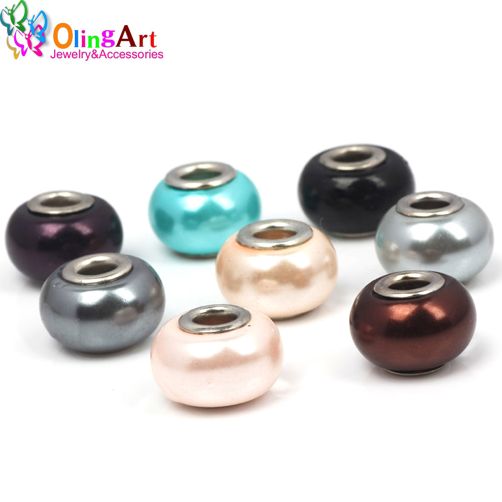 50pcs Boho Mixed Color Silver Alloy Rhinestone Large Hole European Beads 12x13mm