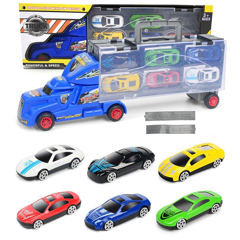 40cm Plastic Diecast Truck <font><b>Hauler</b></font> with 6 Mini metal Alloy car Toy Compatible with disneyingly series car Toy for children Moto image