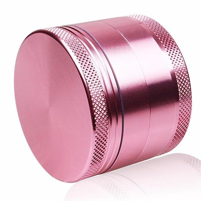 Broyeur dherbes en Aluminium femme rose   Couleur rose Love 4 niveaux, broyeur dherbes, tabac fumée Portable 50mm pour narguilé Shisha tuyau deau en verre