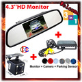 4.3'' LCD Car Parking Camera Mirror Monitor+ CCD Car Rear View Camera+Auto Parking Video Reverse Radar car parking sensor system