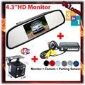 4.3'' LCD Car Parking Camera Mirror Monitor+ CCD Car Rear View Camera+Auto Parking Video Reverse Radar car parking sensor system