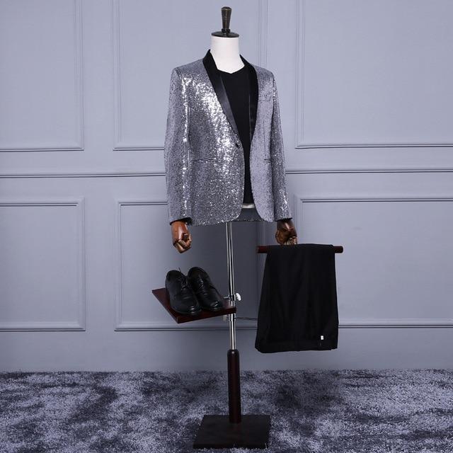 18th century cinza prata lantejoulas mangas compridas festa de casamento padrinho de casamento do noivo terno/blazer retro tribunal europeu prince costume mostrar