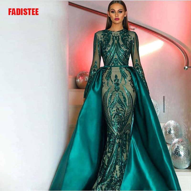 Горячая Распродажа элегантные мусульманские зеленое, с длинным рукавом вечернее платье с расширенным съемным подолом, расшитое пайетками марокканский кафтан формальный вечерние платья