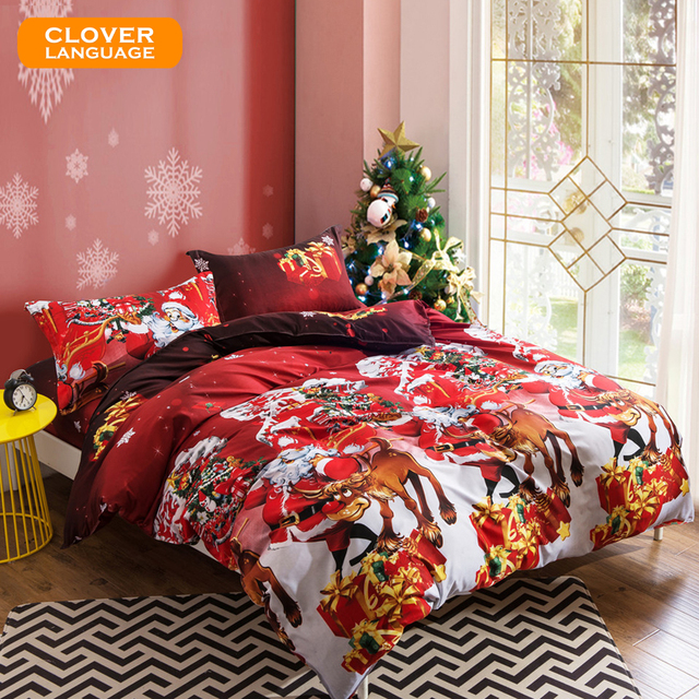 christmas bedding set for adult children holiday gift 4pcs include duvet cover flat - Christmas Bedding Holiday Bedding