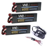 VHO Hard Case Car Lipo Battery 2S 7 4V 6000mAh 40C Bateria 3pcs And UL Charger