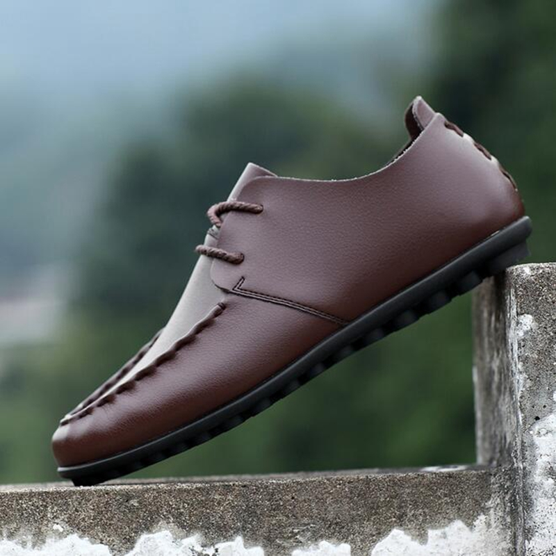 Mode Nouveau Plat Pu Casual P181 Hommes Hombre Conduite brown Taille dark 28 Chaussures 63 Plus Brown Black Respirant Zapatillas Zapatos La De Mocassins FSSgdqx