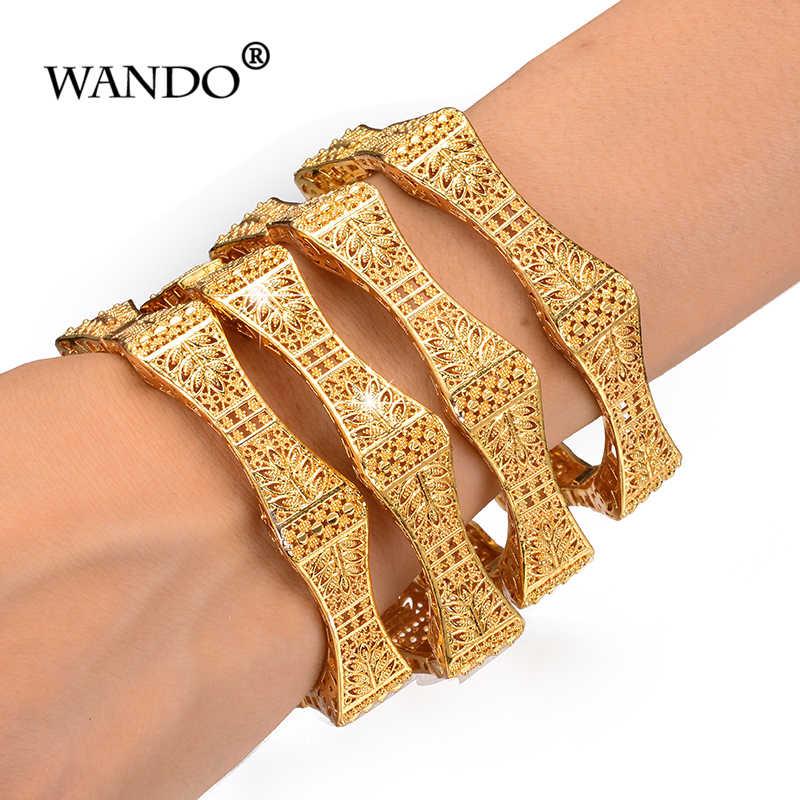 WANDO 4pcs/lot Trendy Arab Jewelry Bangles&Bracelet For Women Exquisite Hexagon Flower Bangle Gold Color Christmas Gift b151