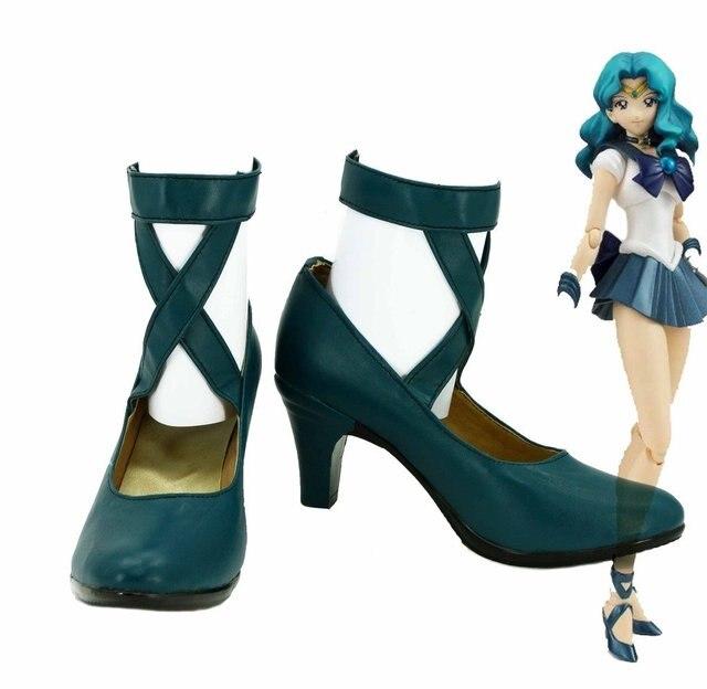 Sailor Moon Sailor Neptune Michiru Kaioh Cosplay Shoes Boots Custom Made