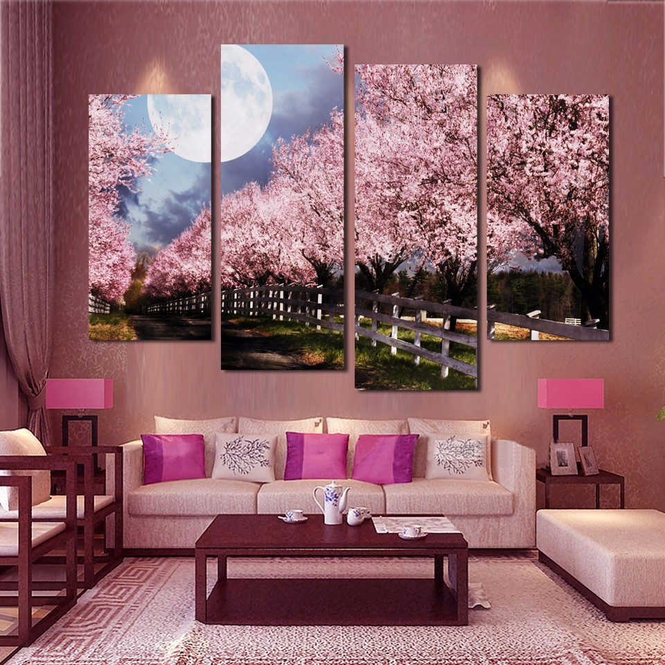 Wall Art Canvas Painting Decor 4 Panels Pink Purple Trees ...