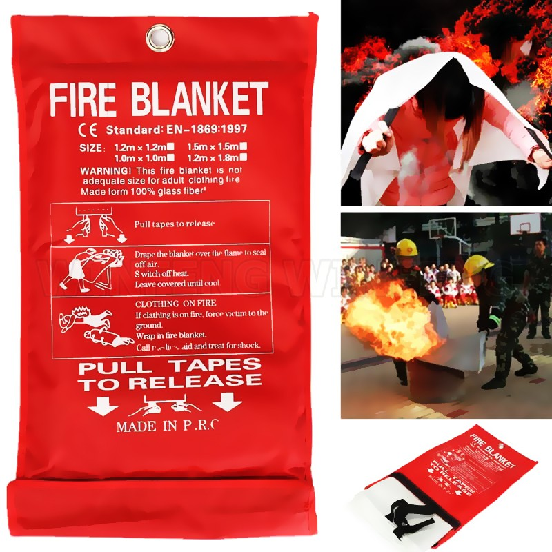 1M*1M Fire Blanket Fiberglass Fire Flame Retardant Clothing 0.45mm Fire Emergency Blanket Survival Shelter Home Safety Cover