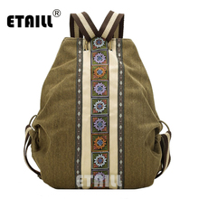 цена на ETAILL Large National Ethnic India Thai Women's Backpack Vintage Canvas Backpack Schoolbag Travel Bags Leisure Female Mochila