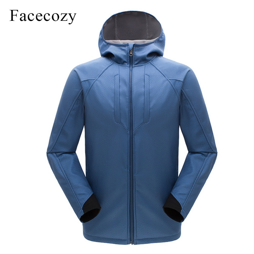 Facecozy Men Winter Hooded Softshell Windbreaker Motorcycle Jacket Waterproof Outdoor Hiking Camping Jackets Male Sports Hoodies dropshipping winter hiking softshell jackets men outdoor fishing clothes camping skiing rainwindbreaker waterproof jacket