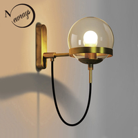 מורדן אמנות ברזל צבוע דקו קיר כדור מנורה הובילה E27 220 V אור קיר מסדרון חדר שינה סלון מסעדת מלון משרד אולם