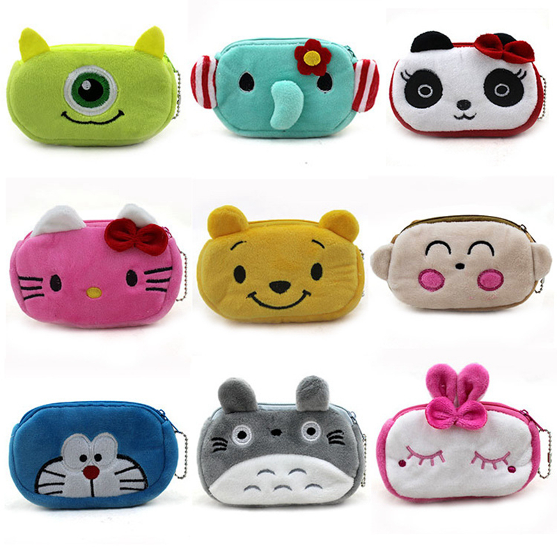 Women Plush Coin Purse Cute Totoro Hello Kitty Wallets Storage Bags Monederos Card Bags Bolsas Carteira Feminina Coin Bag tangimp cool cat purse vintage wallets 2017 women men canvas storage bags monederos card bags bolsas carteira feminina fresh