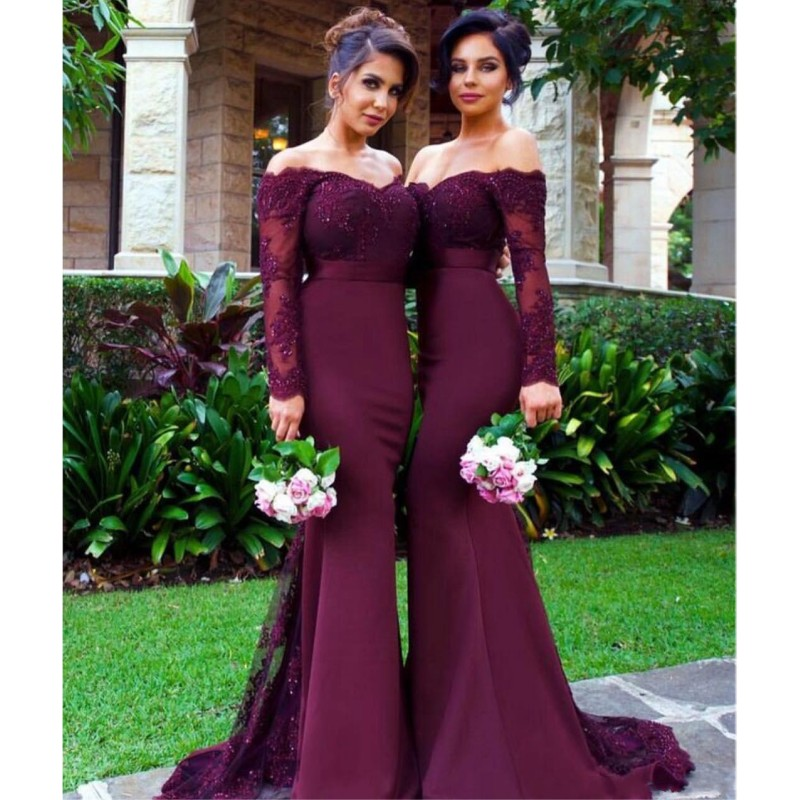 Aliexpress Com Buy Sexy Burgundy Bridesmaid Dresses Long