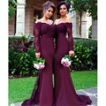 Sexy Burgundy Bridesmaid Dresses Long Mermaid Applique Crystal 2016 Cheap Maid of Honor Dresses for Weddings Plus Size