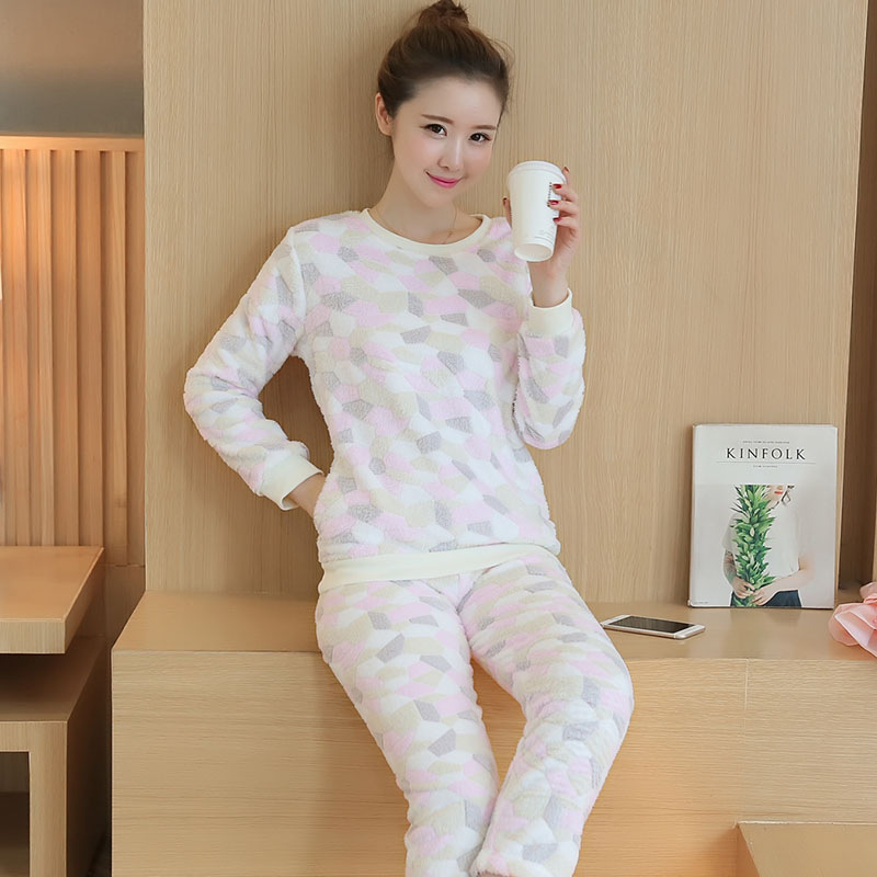 bd0fab8277 Autumn And Winter Thickening Coral Flower Long Women Pajamas Sets Warm  Flannel Home Clothing Serve Lovely Cartoon Suit Wholesale-in Pajama Sets  from Women s ...