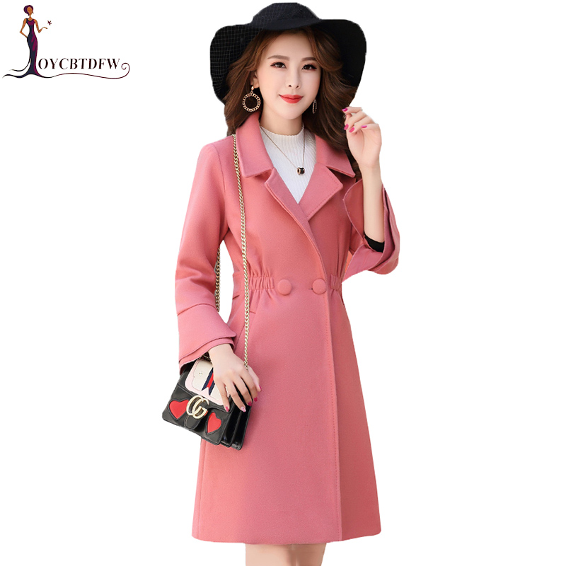 Automne femmes rouge mi long manteau de laine 2018 hiver nouvelle mode élégante coréenne décontracté femme tempérament Caramel laine manteau XY179