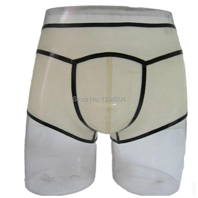 2017 nouveau design hommes Transparent à la main épissé Latex fétiche exotique mâle sous-vêtements cekc zentai slips Shorts