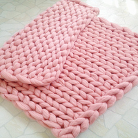 Hand Chunky Wool Knitted Sofa Cover Blankets Thick Thread Winter Blanket Super Soft Warm Home Use Sofa Bed Bulky Knitting Throw