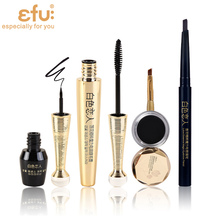 1Set=4Pcs Lotus Series 4Pcs Makeup Set  Mascara and Eyeliner Liquid and Eyeliner Cream and Eyebrow Makeup Brand EFU #EFU002B