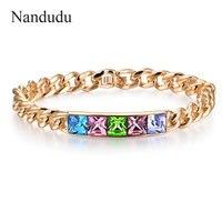 Nandudu Clearance Sale Colorful Austrian Crystal Luxury Bangle Fashion Female Bracelet Jewelry Gift B712