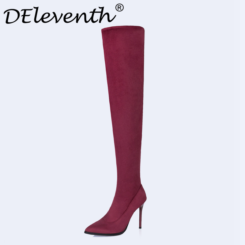 Latest 2017 Winter Sexy Thigh High Boots Stretch Elastic Over The Knee Slim High Heels Long Booties Night Culb Women Shoes Black women socks boots stretch slim winter over knee boots black thigh high boots elastic shoes woman round toe snow boots fs 0153
