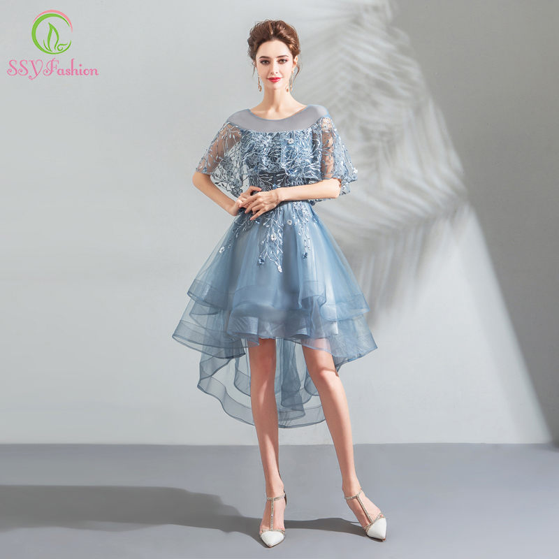 SSFashion New Banquet Elegant Grey Blue   Cocktail     Dress   Lace Embroidery Short Front Long Back Evening Party Gown Robe De Soiree