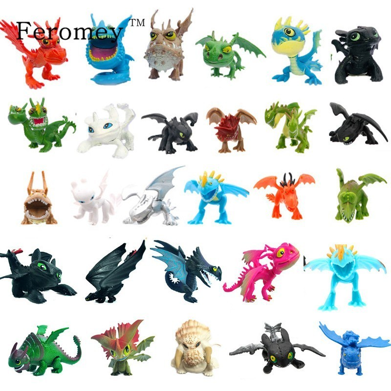 2/7/8/10/13pcs How To Train Your Dragon 3 Action Figure Toys Night Fury Light Fury Toothless Dragon Model Doll Toy Gifts For Kid