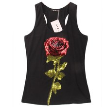 Summer Style Tank Shirts Women Rose Sequins Sequined Vest Camisole Women Tops Fashion Racer Back Tops
