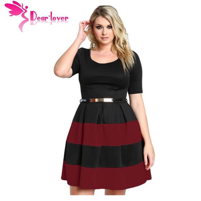 US $31.98 |Dear Lover Office Ladies Dresses Fall Patchwork White Stripes  Detail Belted Plus Size Skater Dress Vestido Work Clothing LC22806-in  Dresses ...