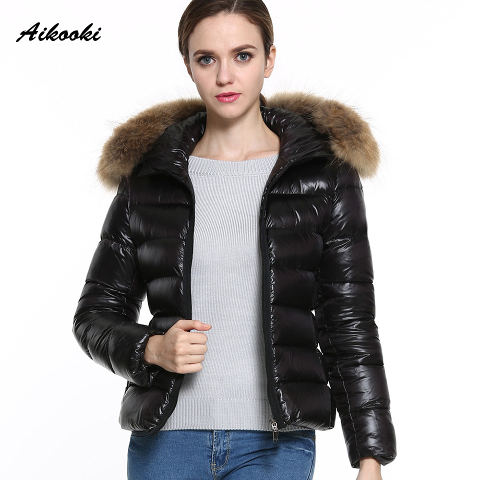 Aikooki New Fashion Short Clothes Winter Women Down Cotton Parka Short Fur Collar Hooded Caot Quilted Jacket Parkas Women Hooded