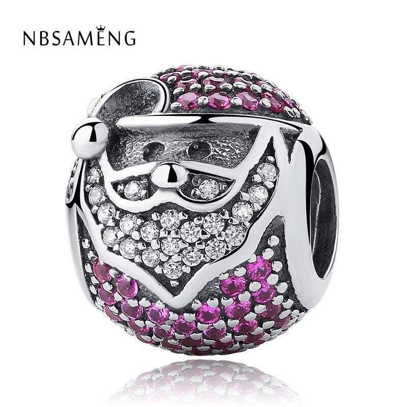 Authentic 925 Sterling Silver Sparkling Jolly Santa Crystal Charms Beads Fit Pandora Charm Bracelet DIY Original Women Jewelry