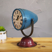 American Vintage Industrial Steampunk Desktop Table Searchlight Shaped Iron Clock Ornaments Office Cafe Display Model