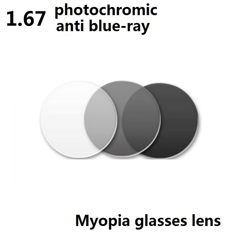 1 67 Aspheric Anti Blue Ray Photochromic Gray Myopia Glasses Lenses EyeWear Resistant Coated Optical Resin